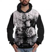 Blusa de Moletom Caveira com Flor Relógio Retrô Swag e Rap