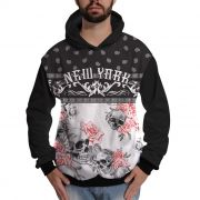 Blusa de Moletom Caveira Floral New York Colorida Skull