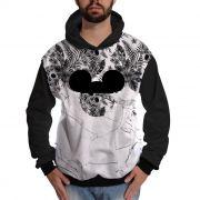 Blusa de Moletom Floral Caveira Mickey Mouse Branca e Preta