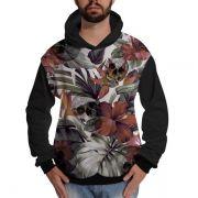 Blusa de Moletom Flores com Caveira Sorrindo Folhas Tropical Rap Skull