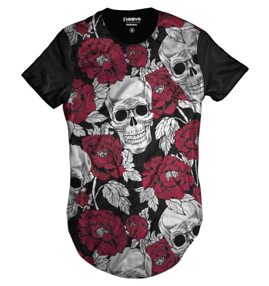 b51b487fd Camisa Swag Caveira Mexicana Florida Rosas Vermelhas