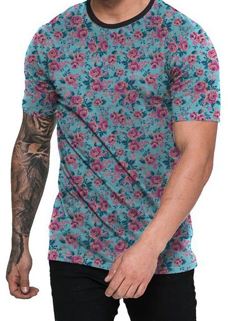 abe2a96666 Camiseta Azul Ciano e Flores Rosas