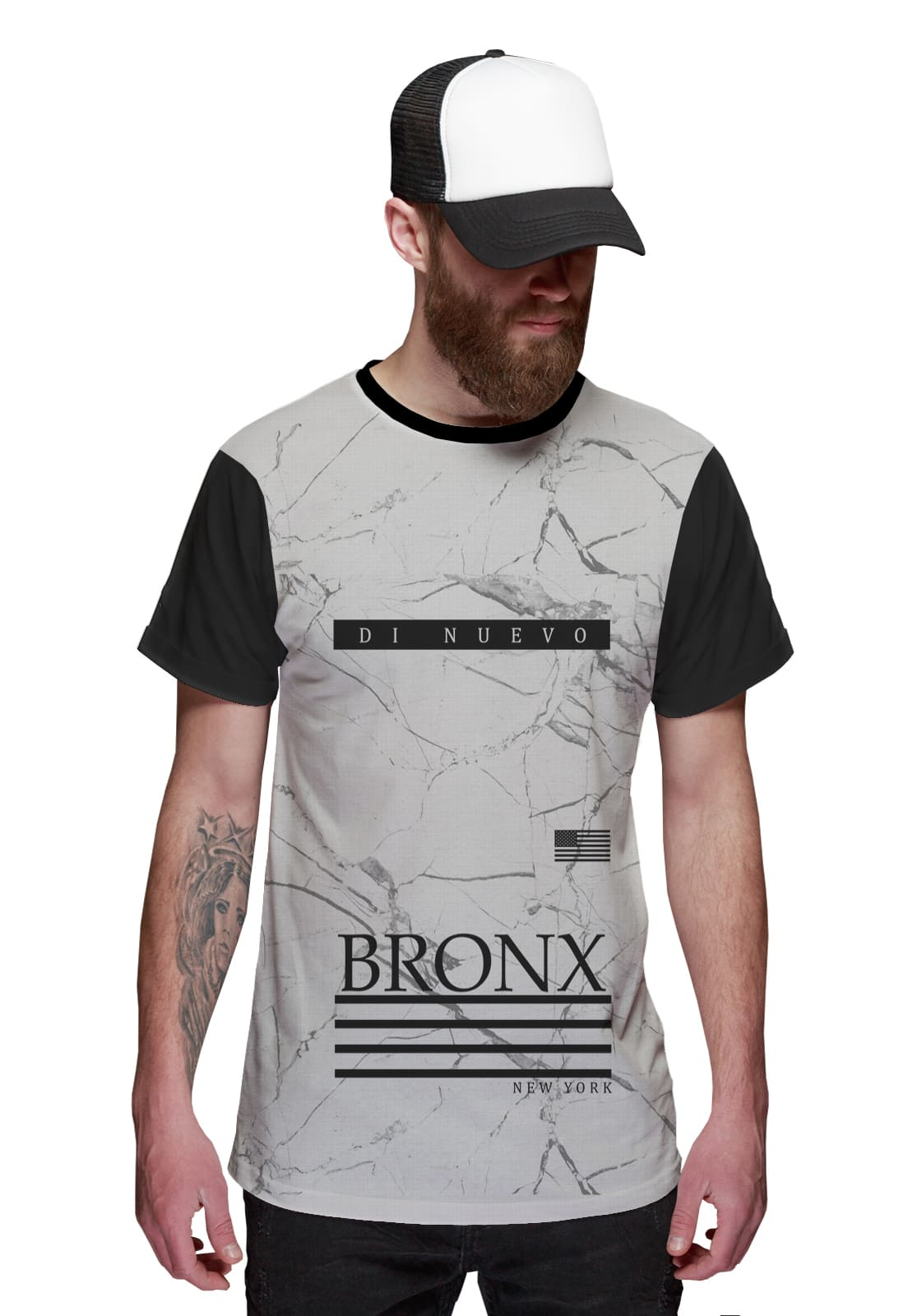 Camiseta Bronx Branca New York  Di Nuevo Street Wear Rap