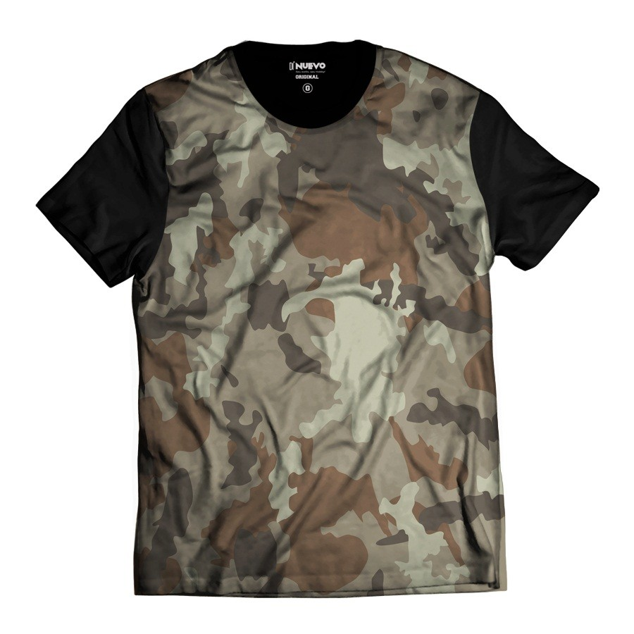 Camiseta Estilo Camuflada Marrom Estilo Exército Thug Life