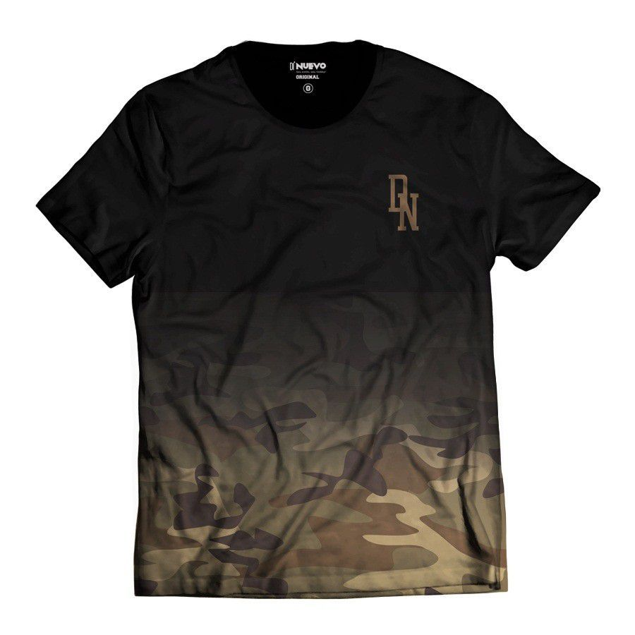 Camiseta Camuflada Marrom Street Wear Di Nuevo DN Degradê