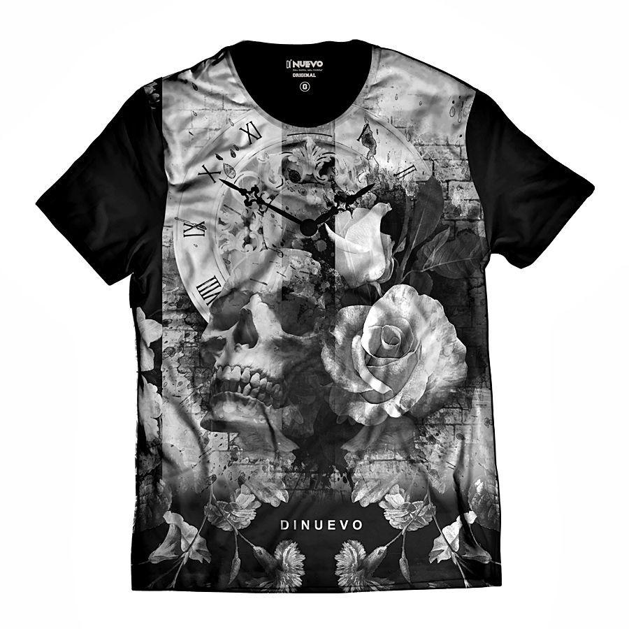 Camiseta Caveira com Flor e Relógio Retrô Swag e Rap
