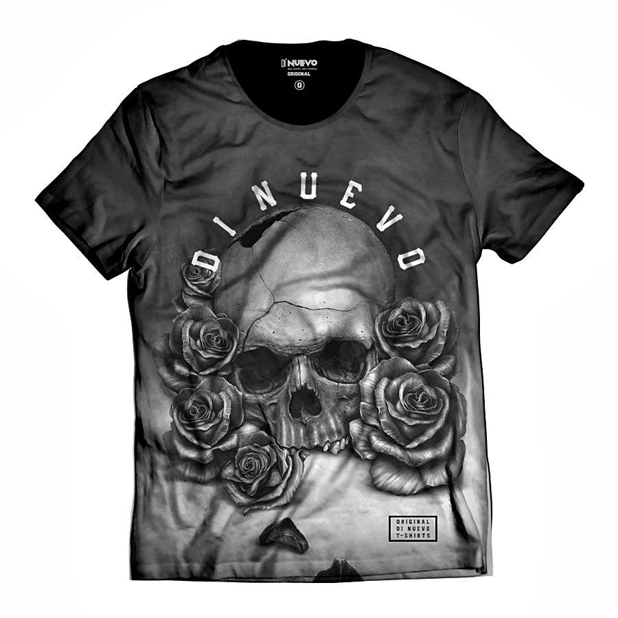 Camiseta Caveira com Rosas Black and White Rapper