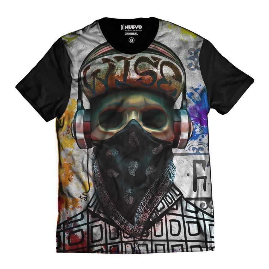 a06371c67 Camiseta Caveira Rapper Skull Color Bandana