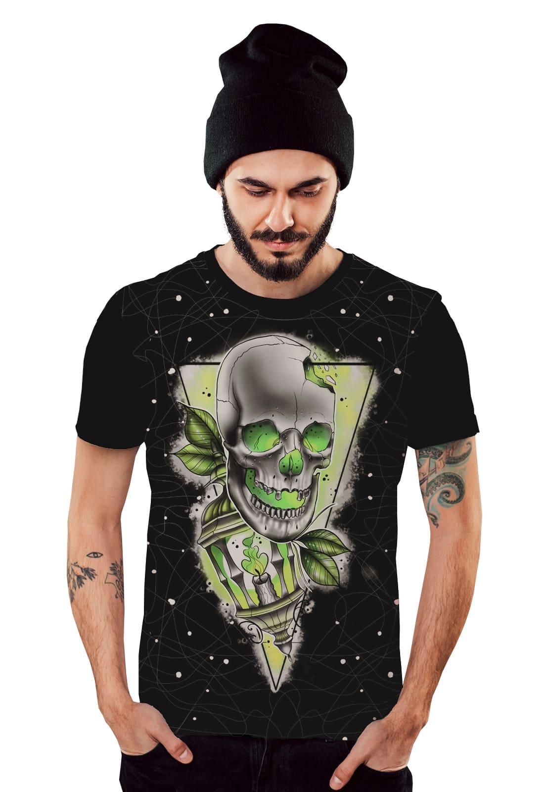 Camiseta Caveira Verde Skull Smoke Masculina