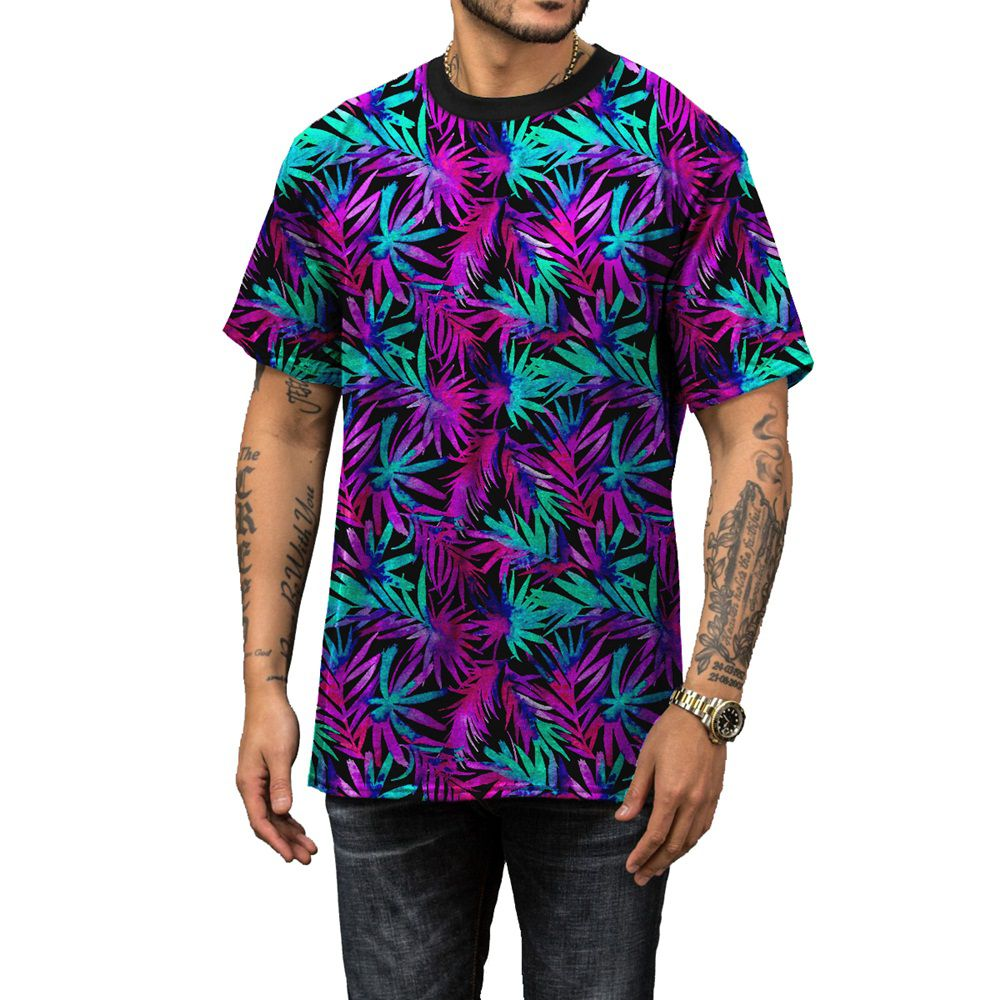 Camiseta Coqueiros Neon Psy Cores Vivas