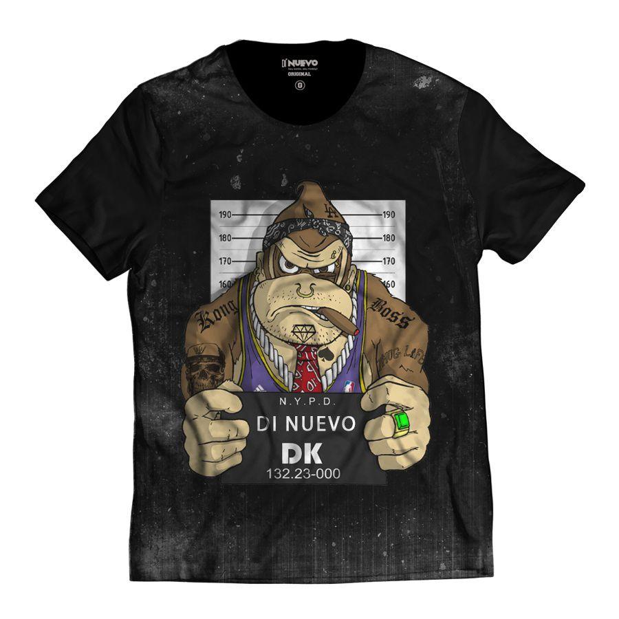 Camiseta Donkey Kong DK Preso Preta Masculina