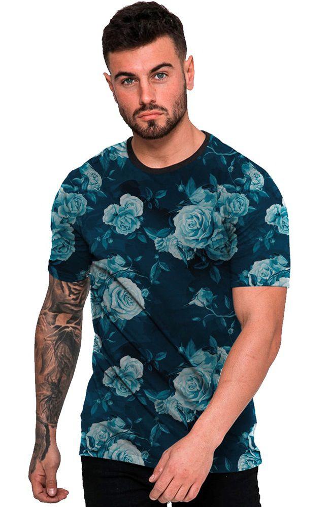 Camiseta Estampada Flores Azul Fashion