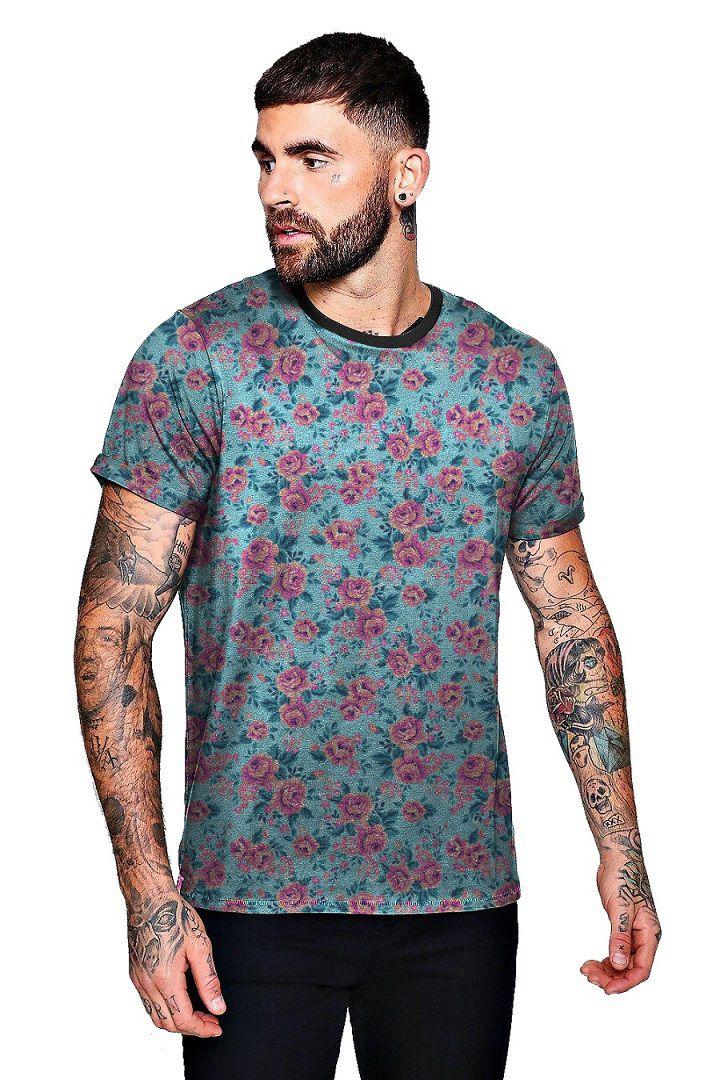 Camiseta Floral Azul Bebe com Rosas Swag