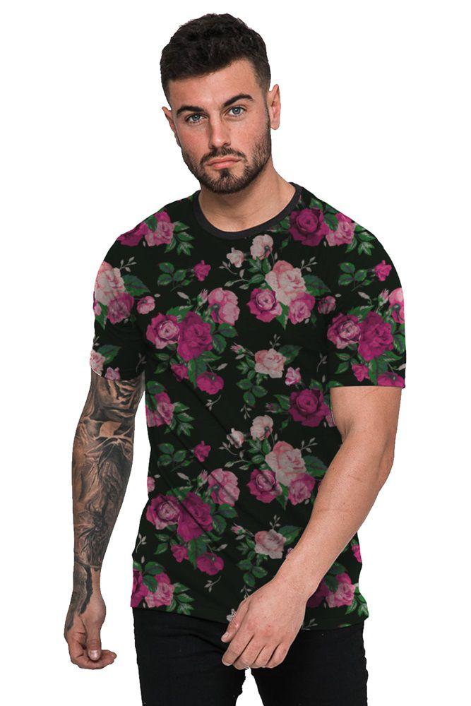 a1d7d280ad Camiseta Floral Preta e Rosa Masculina Top