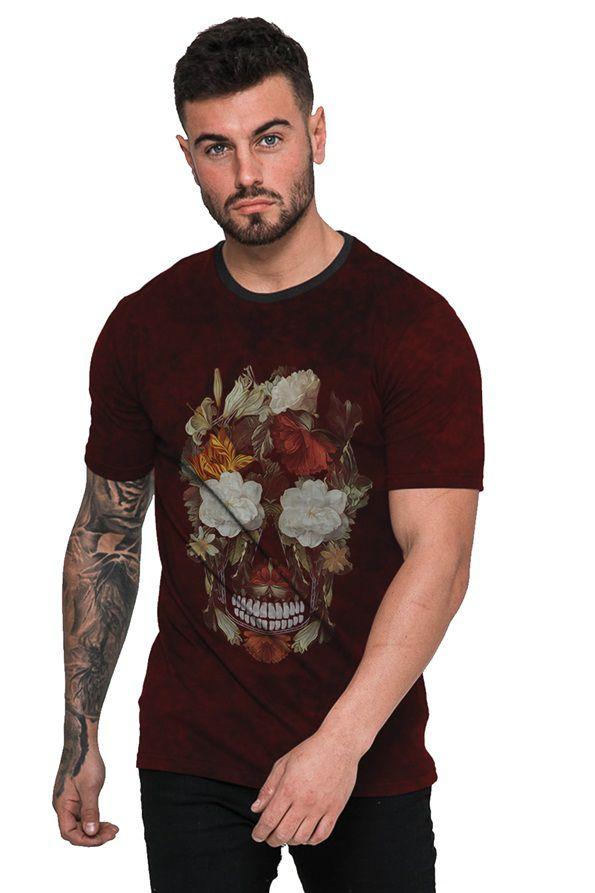 Camiseta Floral Vermelha Caveira Colorida com Flores
