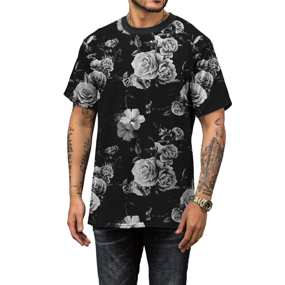 Camiseta Flores Brancas Black Off White Preta Rap