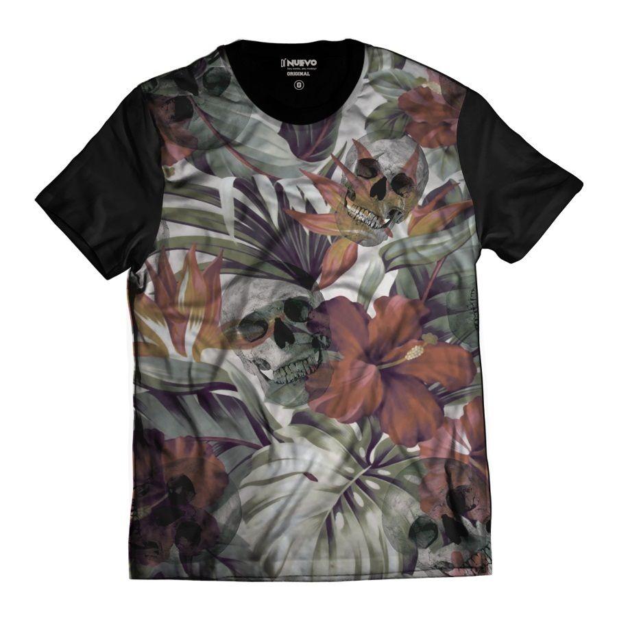 Camiseta Flores com Caveira Sorrindo Folhas Tropical Rap Skull