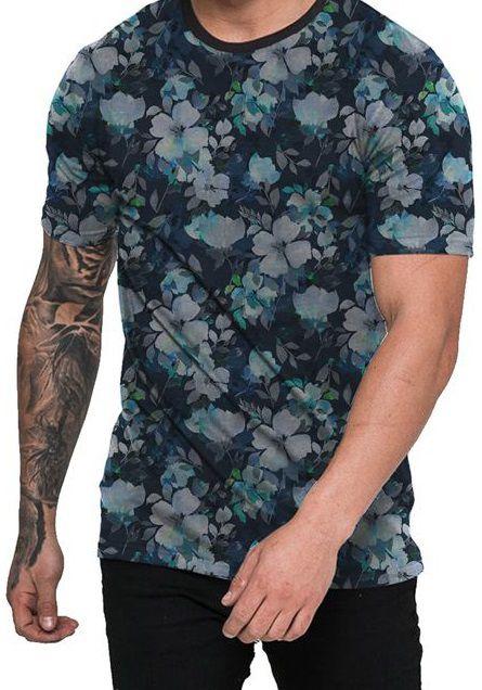 Camiseta Florida Orquídea Azul Floral