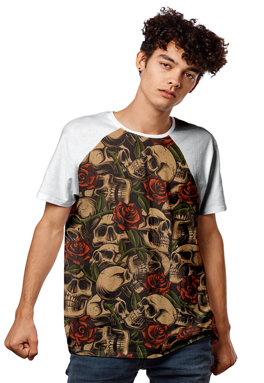 Camiseta Gold Skull And Red Roses Raglan