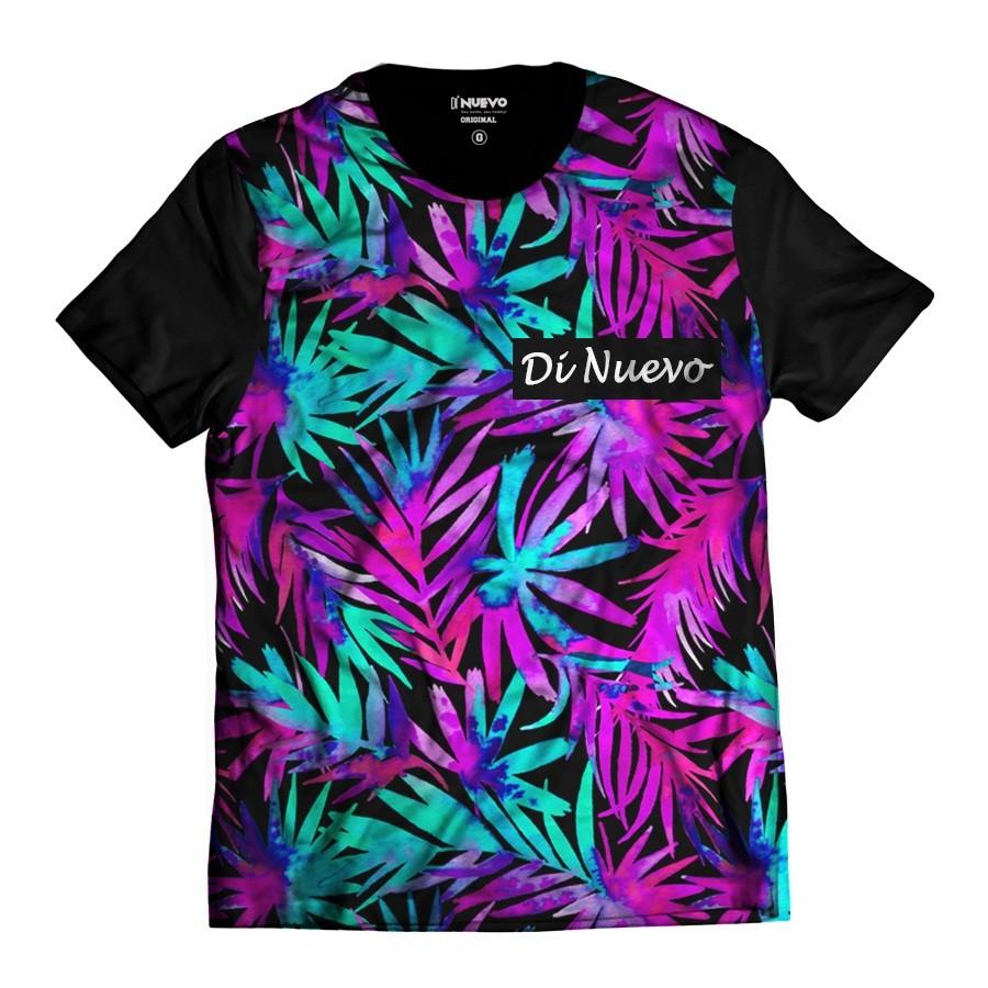 7c71ffdc9 Camiseta Havaiana Folhas Coloridas Verão Tropical Di Nuevo