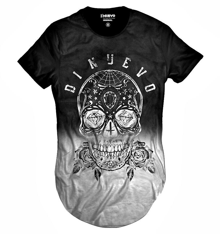 Camiseta Longa Caveira Mexicana Preta e Branca com Flor Swag 352eee27499