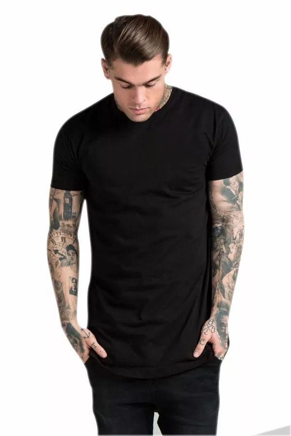 Camiseta Longa  Swag Longline Básica Lisa Sem Estampa