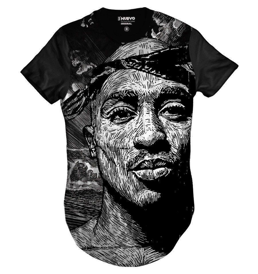 Camiseta Longline 2Pac Rapper Tupac Hip Hop Style
