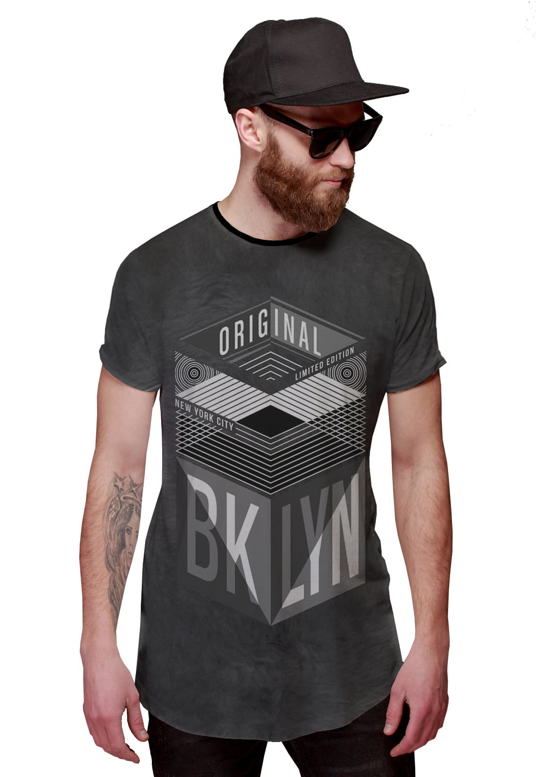 Camiseta Longline Brooklyn New York Ilimitada Original Triangular