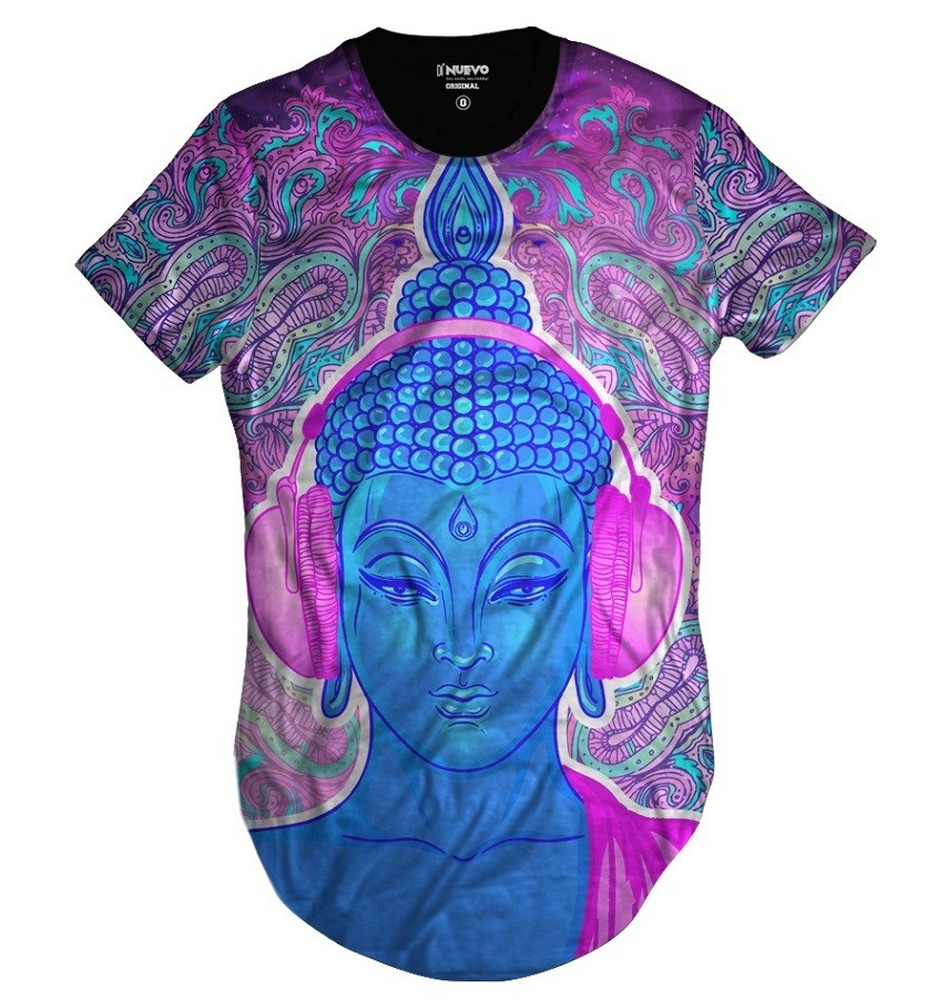 Camiseta Longline Buda Psicodélico Music Alucinógeno Dj Rap