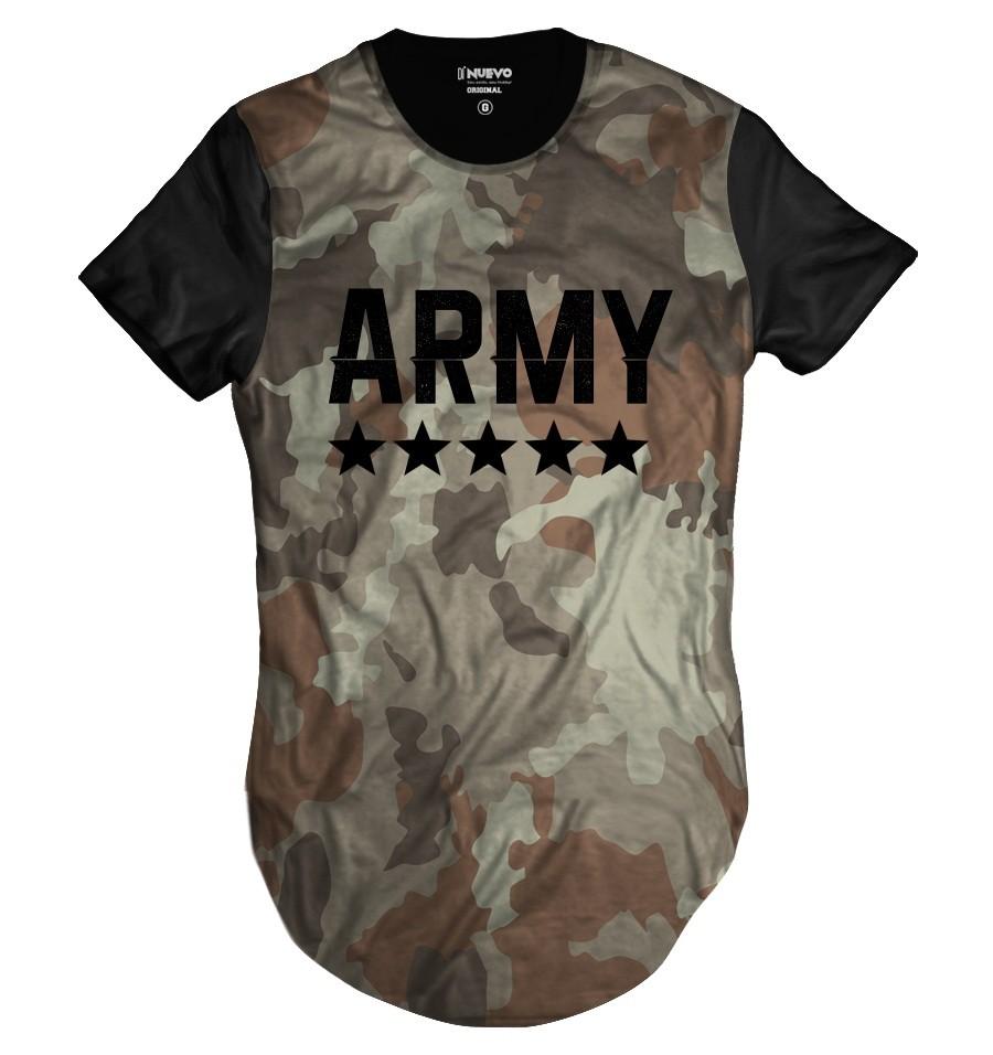 42175786c Camiseta Longline Camuflada Neutra Army Swag Exército