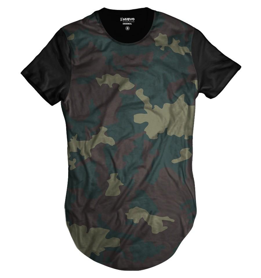 b092f9ba39 Camiseta Longline Camuflada Verde Exército Personalizada