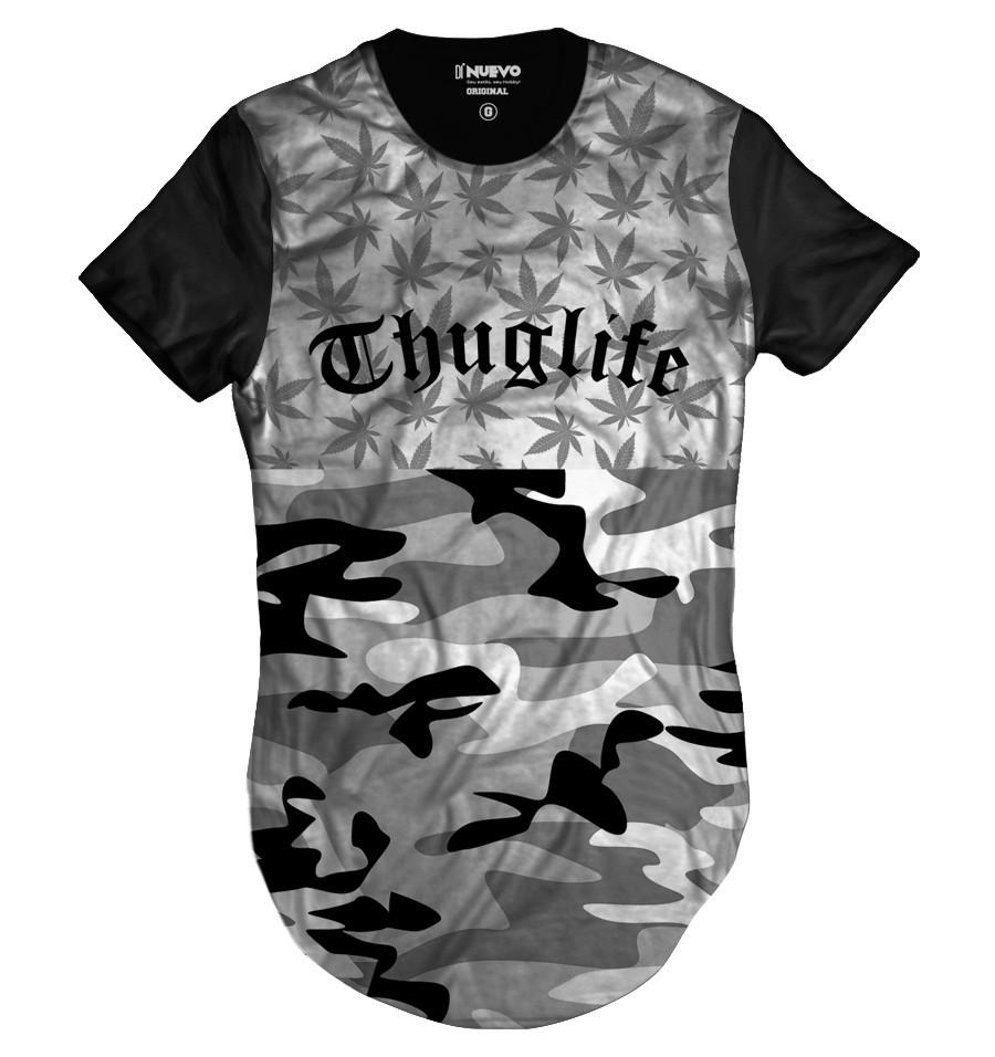 4acb19d3d Camiseta Longline Cannabis Thug Life Camuflada Marijuana Erva