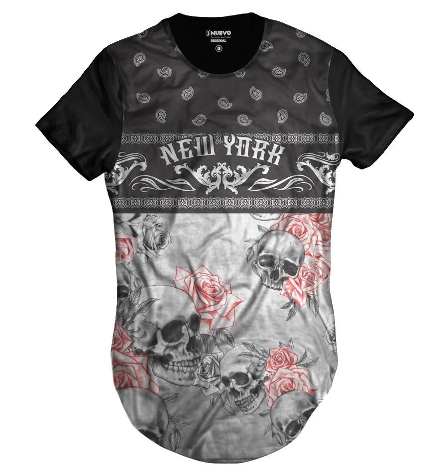 Camiseta Longline Skull Floral New York Caveira Floral