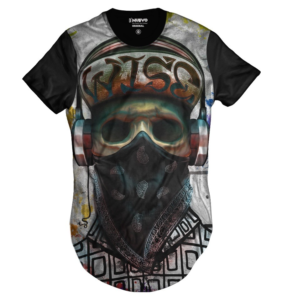 Camiseta Longline Skull Rapper Caveira Monster HipHop
