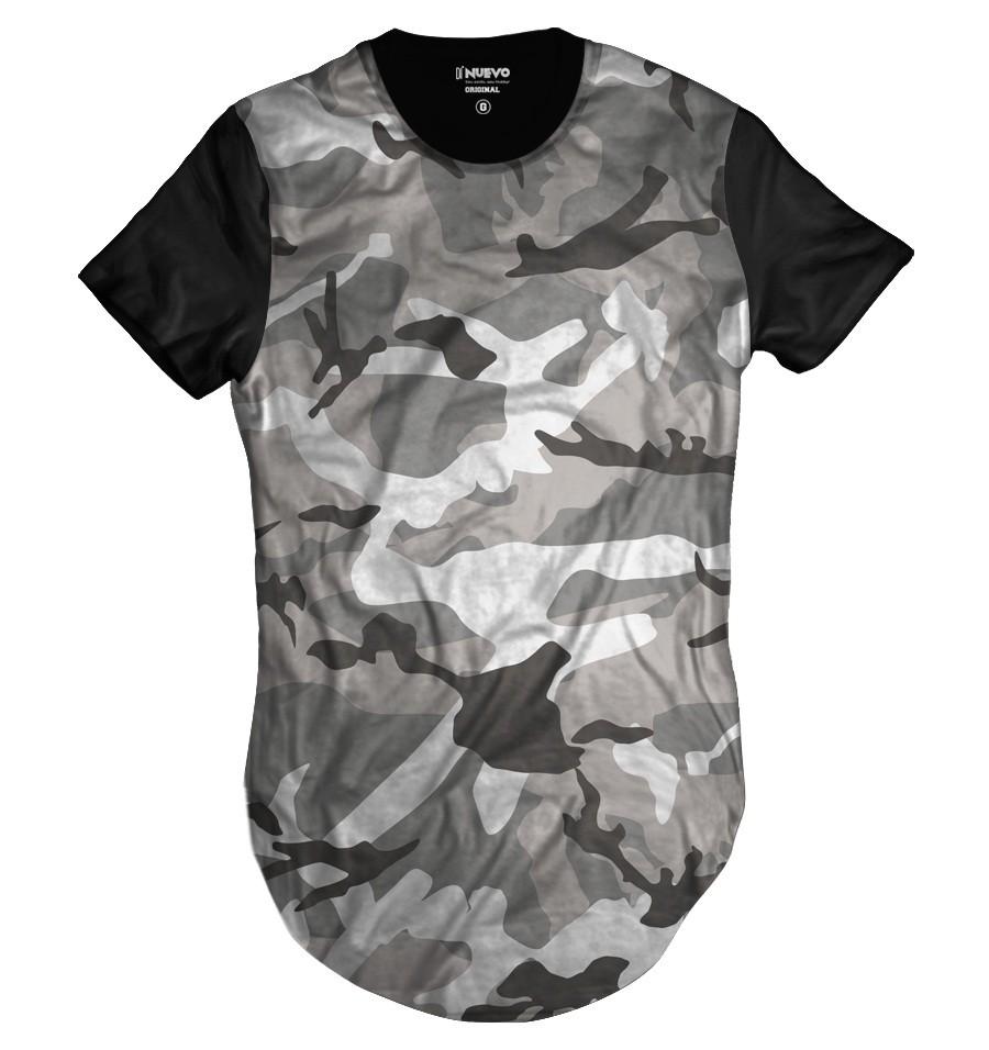 c76df4231 Camiseta Longline Swag Cinza Camuflada Exército