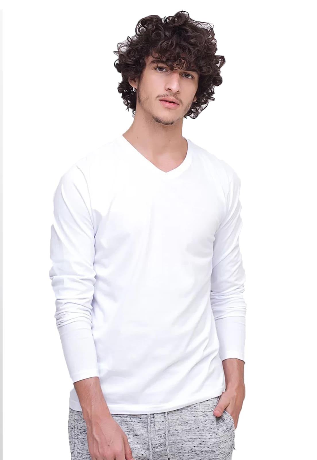 Camiseta Manga Longa Branca Gola V 100% Algodão Di Nuevo