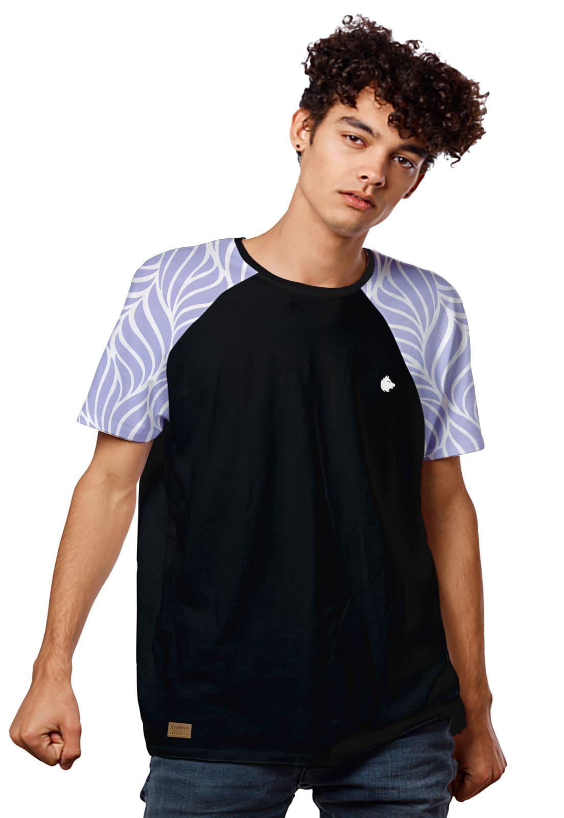 Camiseta Manga Raglan Purple Flame