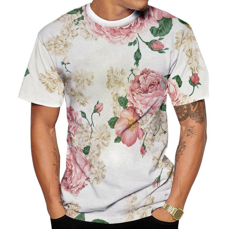 Camiseta Branca e Rosa Florida Verão 2019