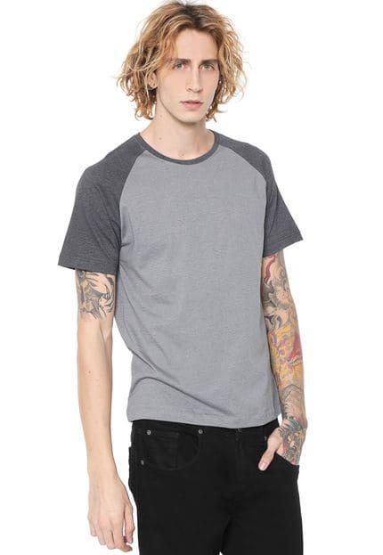 Camiseta Masculina Lisa Raglan Cinza e Garfitte
