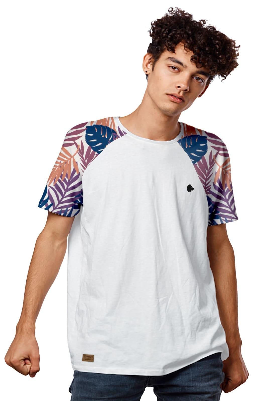 Camiseta Masculina Raglan Floral Tropical Color