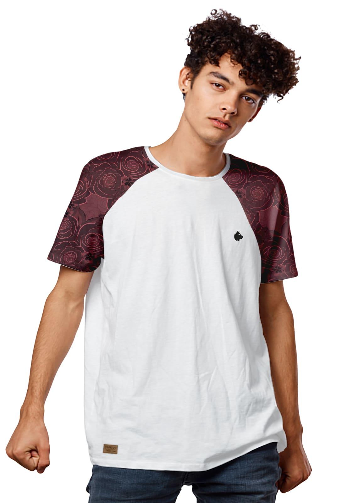 Camiseta Masculina Raglan Manga com Rosas