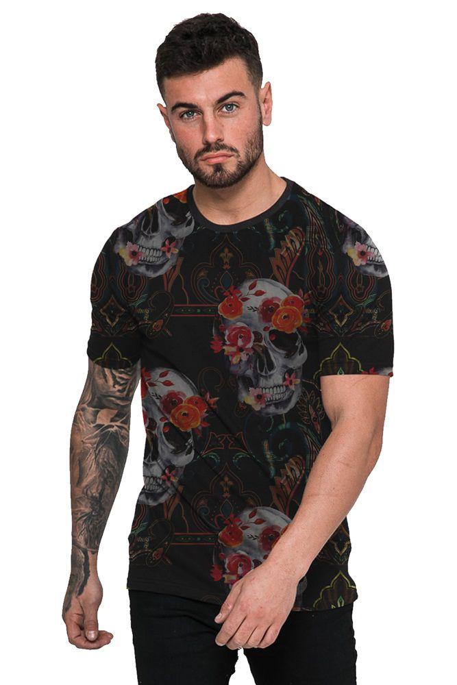 Camiseta Masculina Skull Flower Preta Top