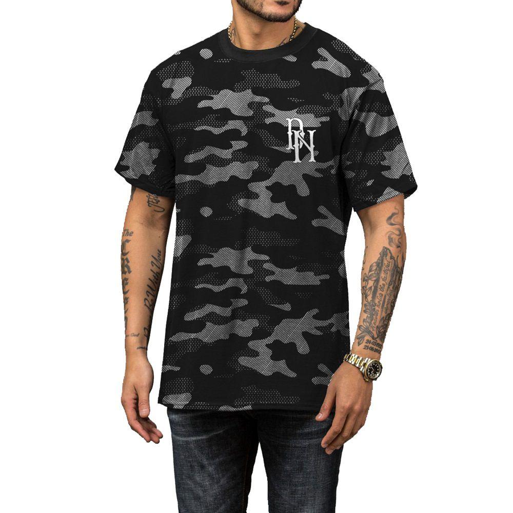 Camiseta Militar Camuflada Estampada Preta e Cinza