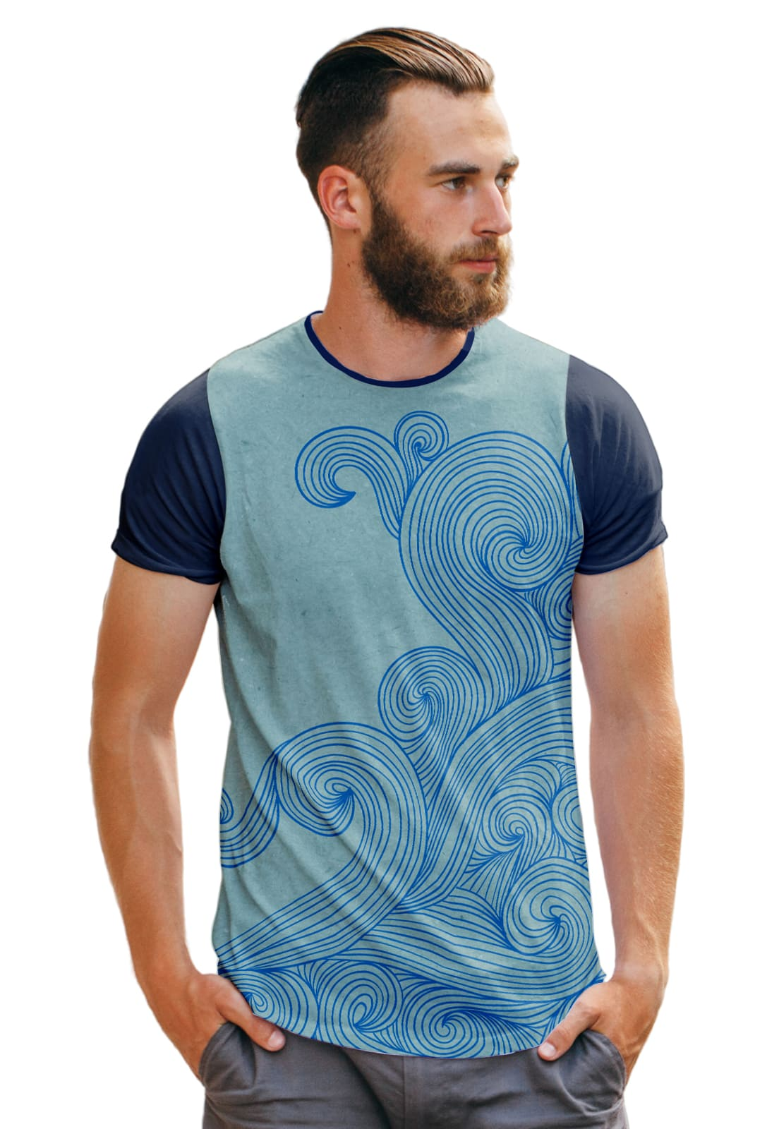 Camiseta Ondas Azuis Fashion Azul Oceano Basic