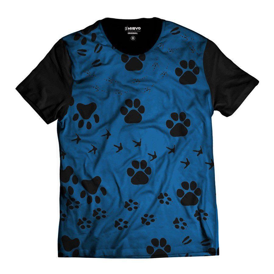Camiseta Patinhas Animal Azul Pet Dog
