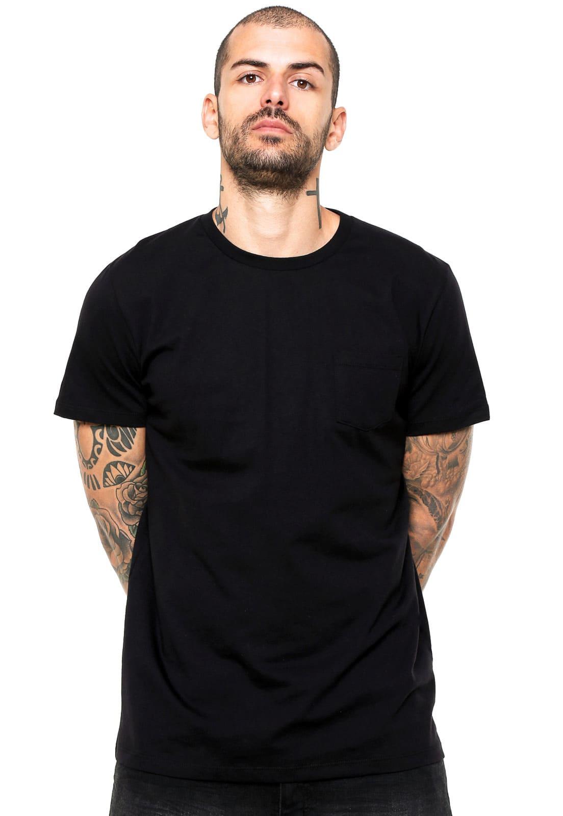 Camiseta Preta 100% Algodão Masculina Di Nuevo Street