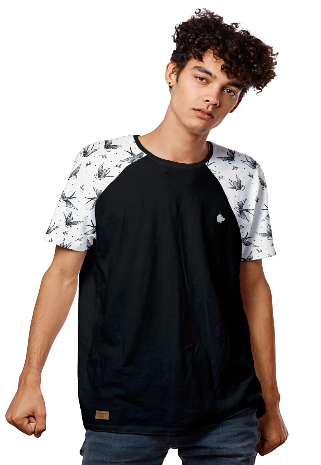 Camiseta Raglan Estampada Pássaros Andorinhas