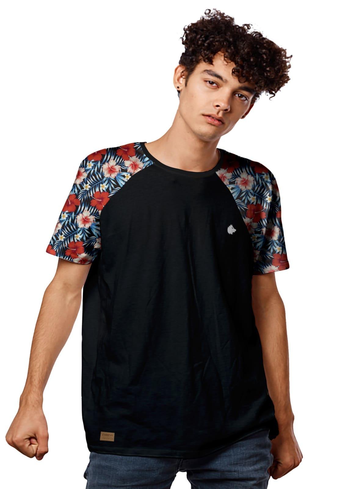 Camiseta Raglan Flores de Mel Vermelhas