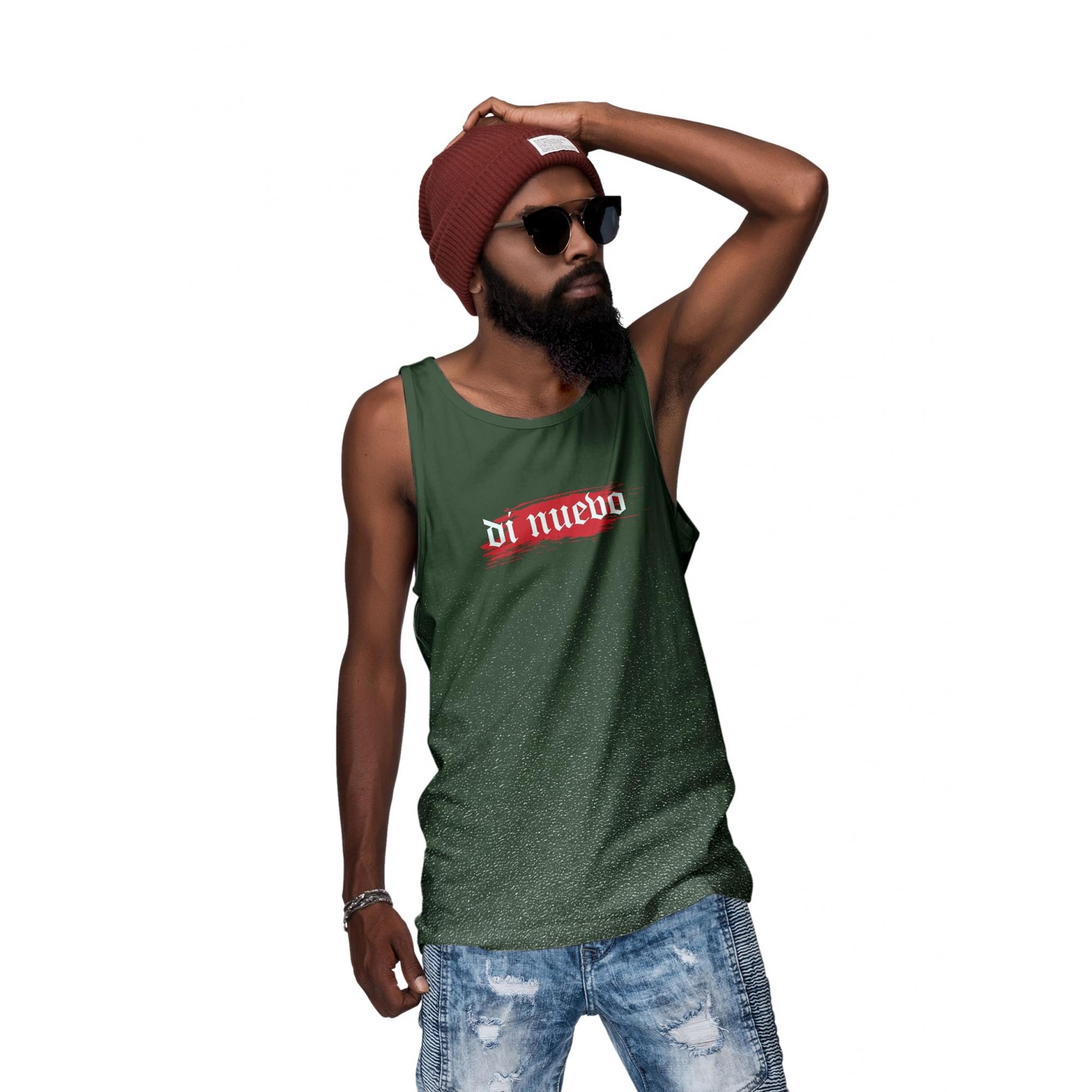 Camiseta Regata Masculiuna Efeito Respingo Verde