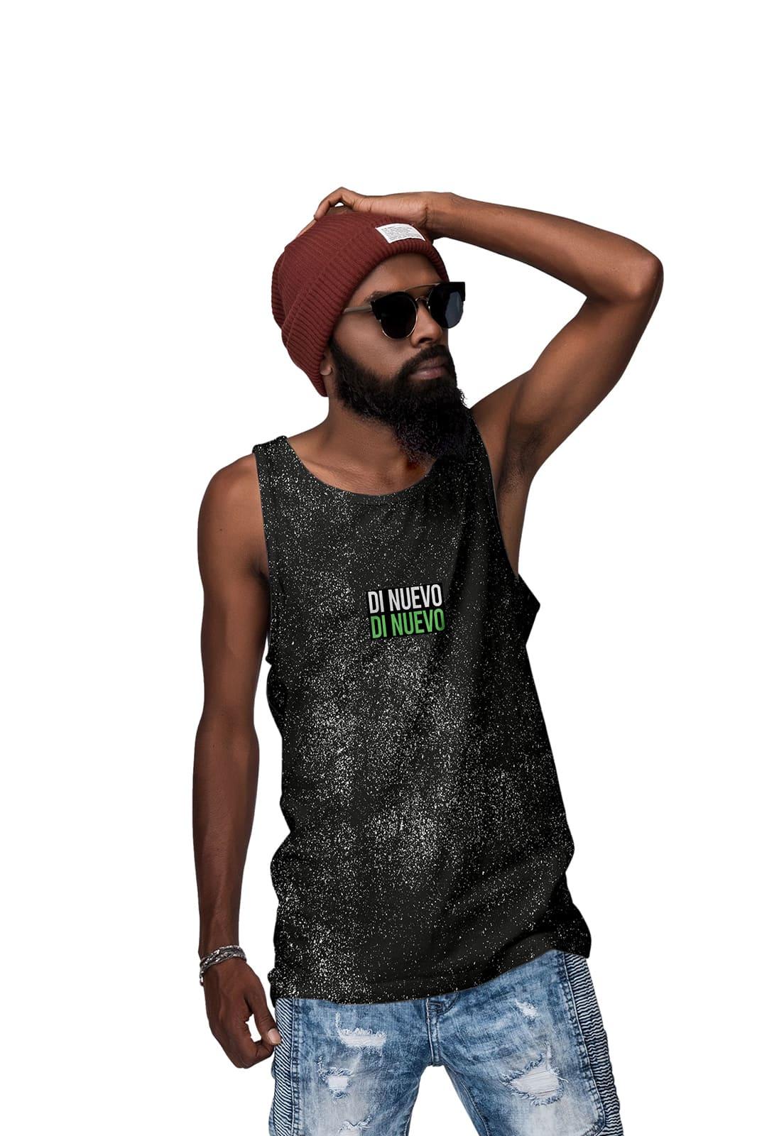 Camiseta Regata Preta Textura Respingo de Tinta DN